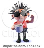 Punk Rocker 3d Character Drinking A Cup Of Coffee by Steve Young