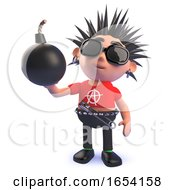 Punk Rocker Character In 3d Holding A Bomb by Steve Young