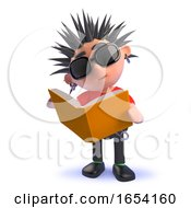 3d Punk Rocker Kid Reading A Book by Steve Young