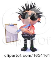 Punk Rock 3d Character Holding A Clipboard And Pencil by Steve Young