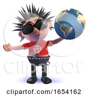 Vicious Punk Rock Character In 3d Holding A Globe Of The Earth by Steve Young