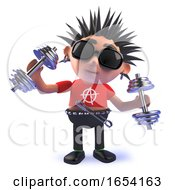 Vicious Punk Rocker Character Exercising With Dumbell Weights In 3d by Steve Young
