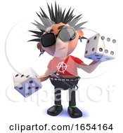 3d Vicious Punk Rocker Holding A Pair Of Dice by Steve Young
