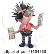 Rich Punk Rock Character In 3d Holding Wads Of US Dollar Bills by Steve Young