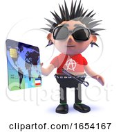 Vicious Punk Rocker Paying With A Debit Card 3d Illustration by Steve Young