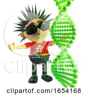 Vicious Punk Rock Character Looking At A DNA Strand 3d Illustration by Steve Young