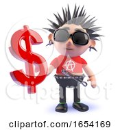 Vicious Punk Rock Character Holding A US Dollar Currency Symbol 3d Illustration by Steve Young