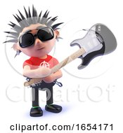 Poster, Art Print Of Punk Rocker Smashing An Electric Guitar 3d Illustration