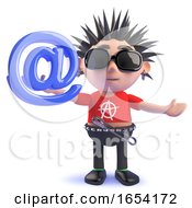 Funny 3d Vicious Punk Rock Character Holding An Email Address Symbol by Steve Young