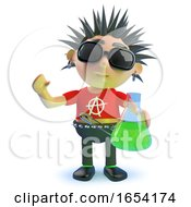 Rotten Punk Rock Character Holding A Flask Of Green Liquid 3d Illustration by Steve Young