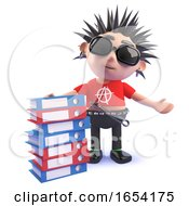 Vicious Punk Rocker Standing Next To A Stack Of Folders 3d Illustration by Steve Young