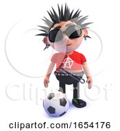Football Loving Punk Rock Character 3d Illustration by Steve Young