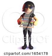3d Gothic Girl In Latex Catsuit Holding An Abacus Because She Can
