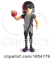 3d Gothic Girl In Latex Catsuit Holding An Organic Apple