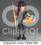 Poster, Art Print Of Cool Goth Girl In Leather Catsuit Holding A Palette And Paint Brush 3d Illustration