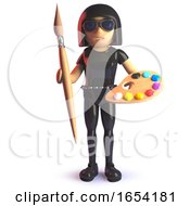 3d Gothic Girl Wearing A Latex Catsuit And Holding A Paintbrush And Palette