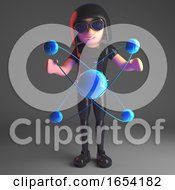 Cool 3d Gothic Girl In Leather Catsuit Holding A Nuclear Atom