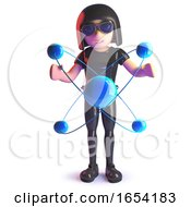 3d Gothic Girl Wearing A Leather Catsuit And Studying A Quantum Nuclear Atom