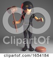 Cool Leather Clad Gothic Girl Holding An Auction Gavel 3d Illustration
