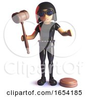 Gothic 3d Girl In Latex Jumpsuit Character Holding An Auction Gavel