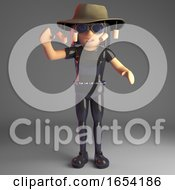 Gothic Girl In Leather Catsuit Wearing An Australian Bush Tucker Hat 3d Illustration