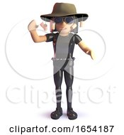 Goth Girl Wearing An Australian Bush Tucker Hat 3d Illustration
