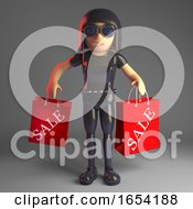 Cool Gothic Girl In Leather Catsuit Carrying Sale Shopping Bags 3d Illustration