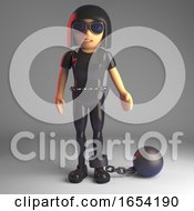 Gothic Girl In Leather Catsuit Wearing A Ball And Chain 3d Illustration
