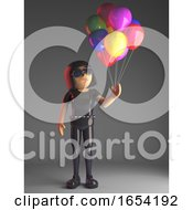 Cool Gothic Girl In Leather Catsuit Has Lots Of Coloured Balloons 3d Illustration