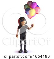 Cool 3d Gothic Styled Girl With Party Balloons