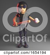 Gothic Girl In Leather Catsuit Holding A Baseball Bat And Ball 3d Illustration