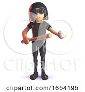 Cool Latex Wearing Gothic Girl With Baseball Bat And Ball 3d Illustration