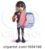 Cool Latex Wearing Gothic Girl In 3d Playing A Bass Drum