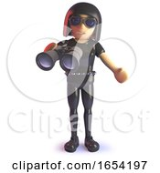 Cool Gothic Girl In Latex Catsuit With Binoculars 3d Illustration