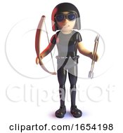 Cool 3d Gothic Girl In Latex Catsuit Holding A Bow And Arrow by Steve Young