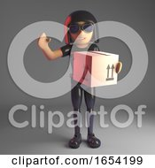Cool Gothic Girl In Leather Suit Delivering A Cardboard Box 3d Illustration