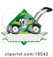Green Lawn Mower Mascot Cartoon Character Chewing Grass On A Blank Ribbon Label