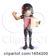Cool 3d Gothic Girl Wearing Latex Catsuit Delivering A Parcel 3d Illustration by Steve Young
