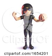 3d Cool Gothic Girl In Latex Catsuit Holding A Human Brain