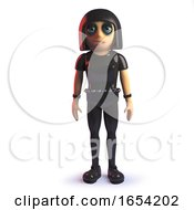 3d Goth Girl In Leather Jumpsuit Standing Calmly At Attention