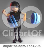 Cool Gothic Girl In Leather Catsuit Lifting Weights 3d Illustration