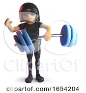 Goth Girl Character In Latex Catsuit Lifting Some Heavey Weights In 3d