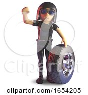 3d Goth Girl Character In Latex Catsuit With A Wheel And Tyre