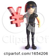 3d Gothic Girl In Rubber Catsuit Holding A Yen Currency Symbol