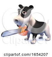Black And White Puppy Dog Character In 3d Holding A Chainsaw In Its Mouth