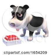 Poster, Art Print Of Funny 3d Black And White Puppy Dog Looking At A Button Switch On The Floor