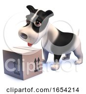 3d Black And White Puppy Dog Looking At A Cardboard Box Postal Delivery