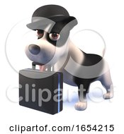 Black And White Puppy Dog Hound Wearing Bowler Hat And Holding A Briefcase In 3d