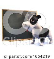 Clever Black And White Puppy Dog In 3d Is Learning At The Blackboard