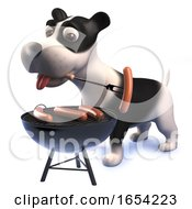 Hungry Black And White Puppy Dog In 3d Playing With A Bbq